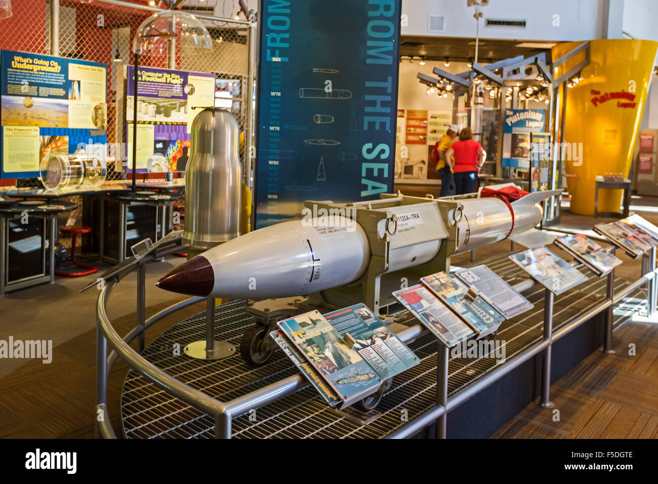 Los Alamos, New Mexico - The Bradbury Science Museum displays a casing for the B61 nuclear bomb. - Stock Image