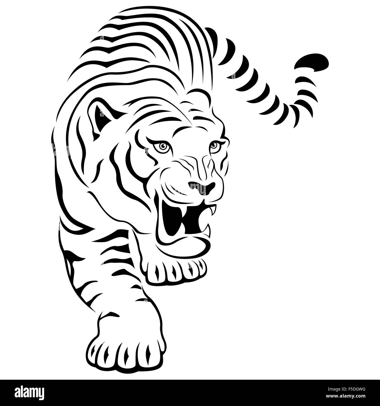 Aggressive concealed large tiger on the hunting, hand drawing vector outline isolated on a white background - Stock Vector