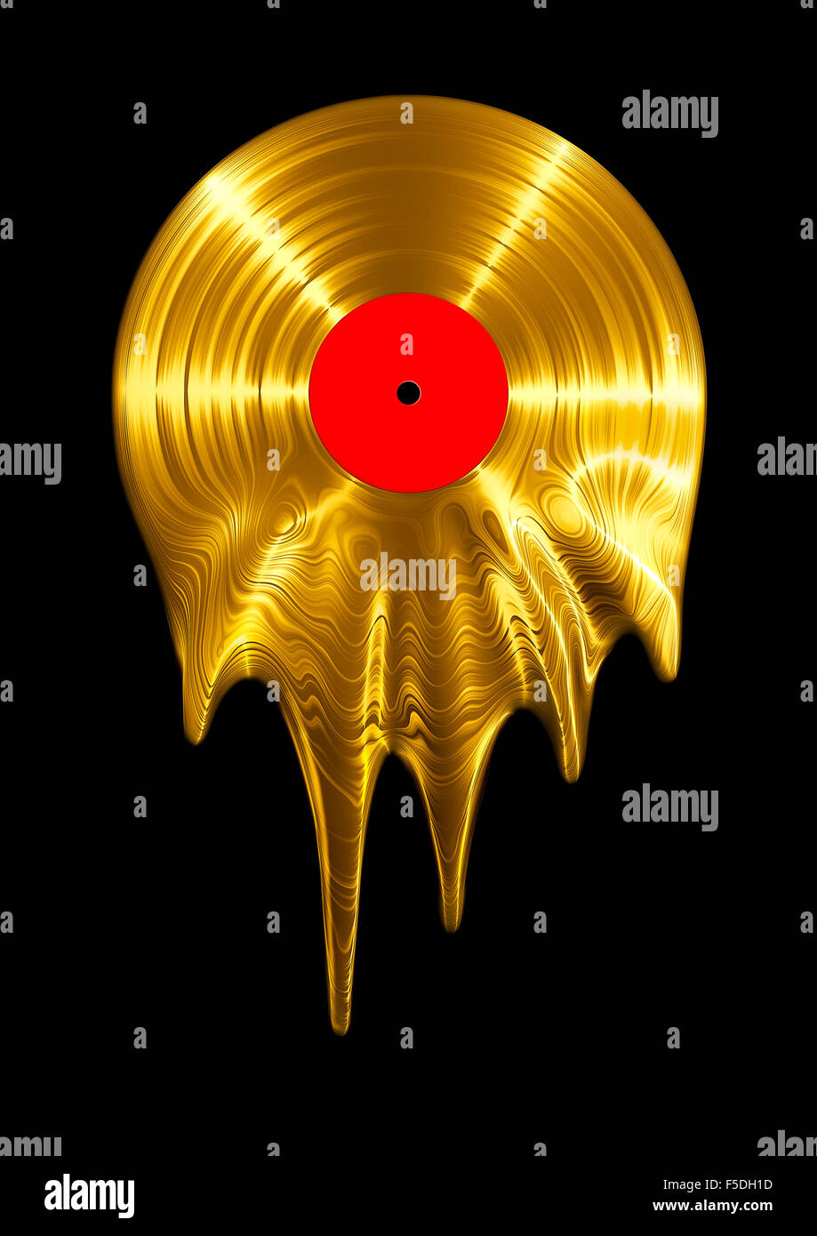 Melting gold vinyl record / 3D render of vinyl record melting - Stock Image