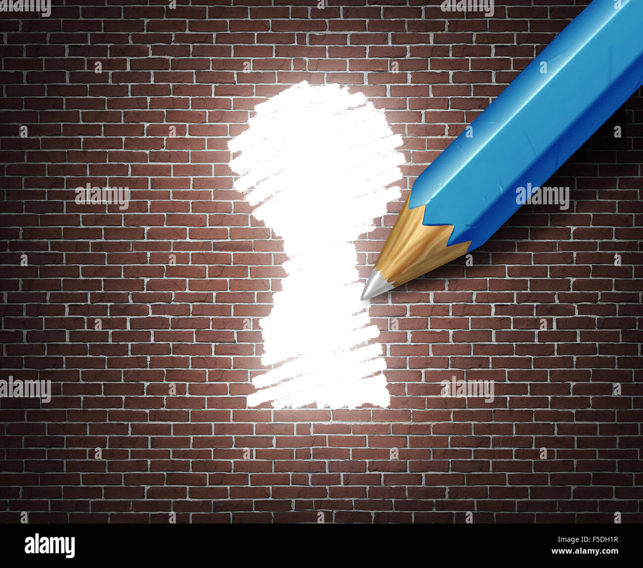 Business possibility idea concept as a white tipped pencil drawing a keyhole shape on a brick wall as an access - Stock Image