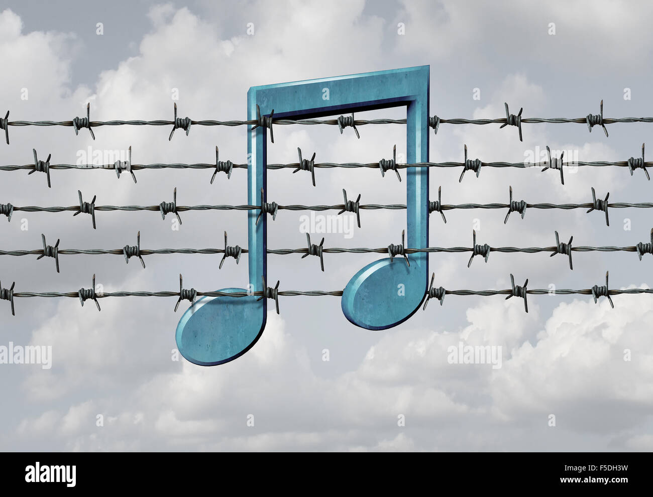 Media censorship concept and music restriction symbol as a musical note on a barb or barbed wire fence element as Stock Photo