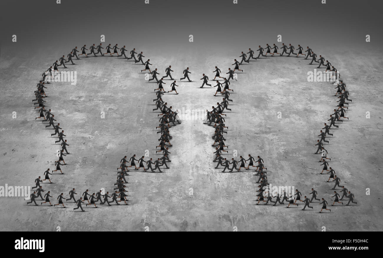 Teamwork leadership business concept or employee poaching symbol as a group of running businesspeople shaped as - Stock Image