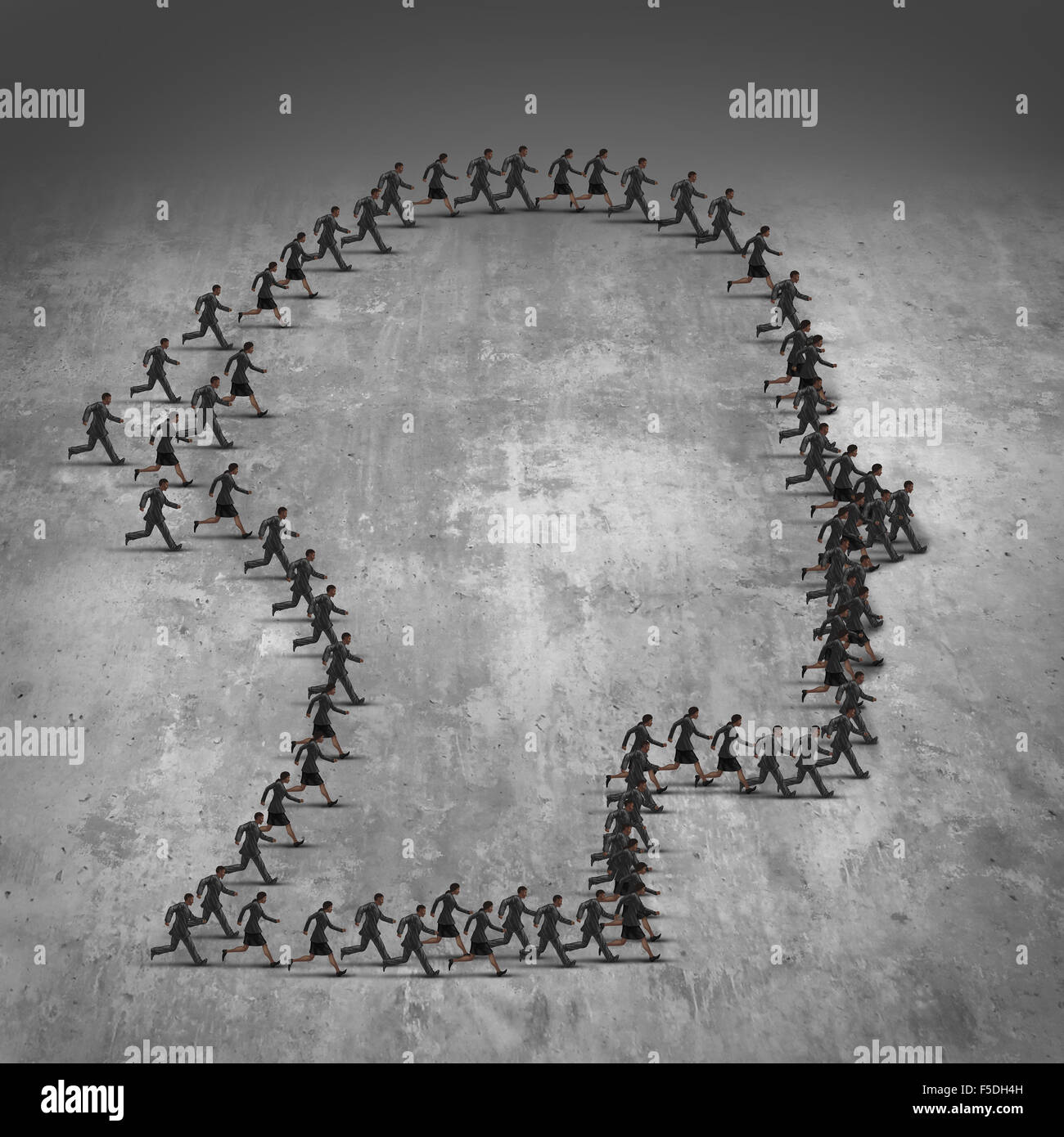 People organization concept as a group of running men and women in a joint effort working together shaped as a human - Stock Image