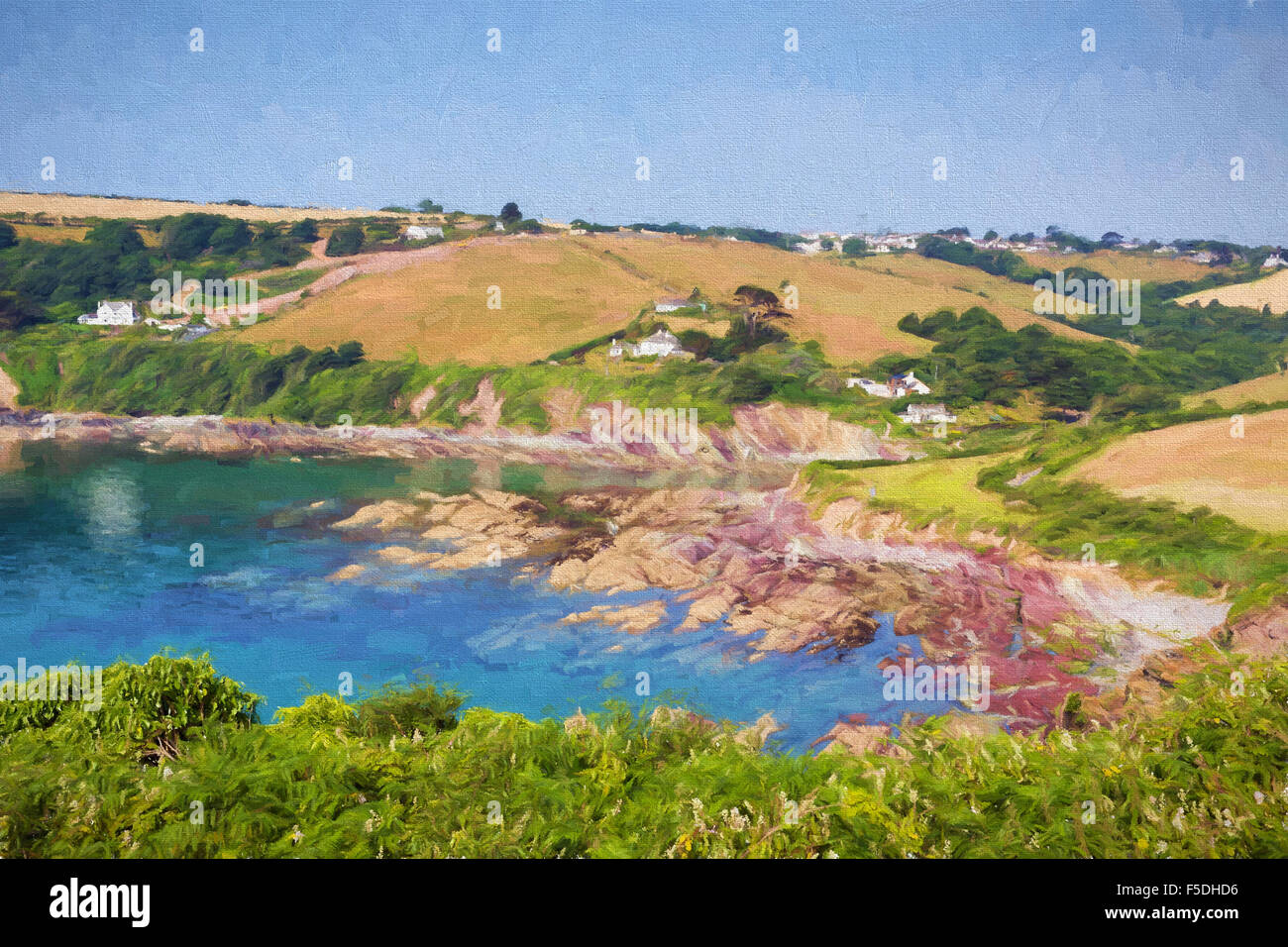 Talland Bay between Looe and Polperro Cornwall England UK on a beautiful blue sky sunny day illustration like oil - Stock Image