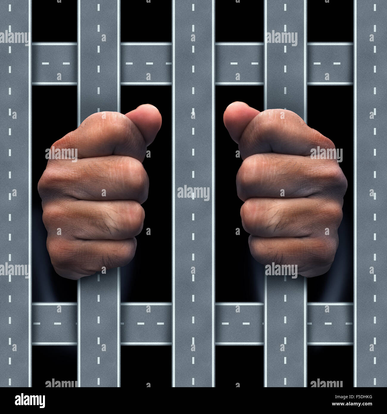 Moving violation concept as a traffic infraction or auromobile dependency symbol as human hands behind bars made - Stock Image