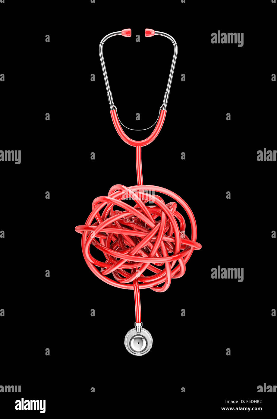 Stethoscope knot / 3D render of stethoscope with tubing in twisted knot - Stock Image