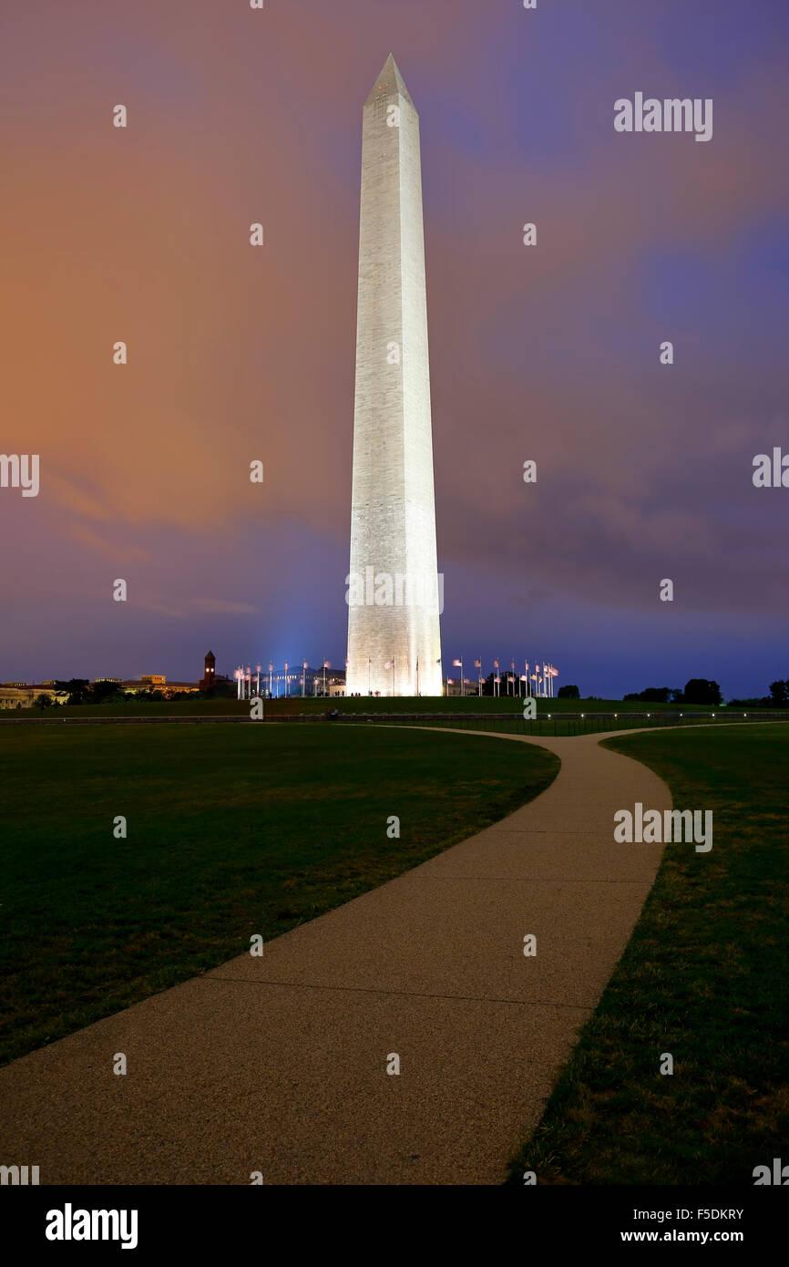 Washington Memorial and American Flags, Washington, District of Columbia USA - Stock Image