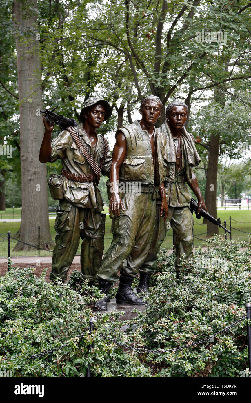 'The Three Servicemen' statue (by Frederick Hart), Vietnam Veterans Memorial, Washington, District of Columbia - Stock Image