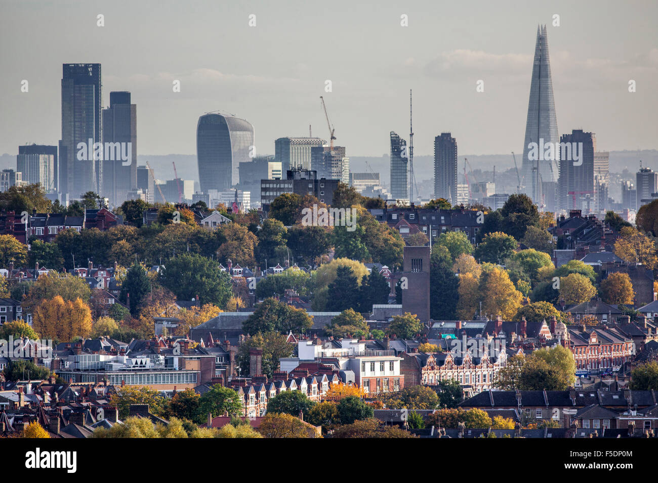 View over the North London districts of Crouch End and Hornsey in the Borough of Haringey, to the skyline of the - Stock Image