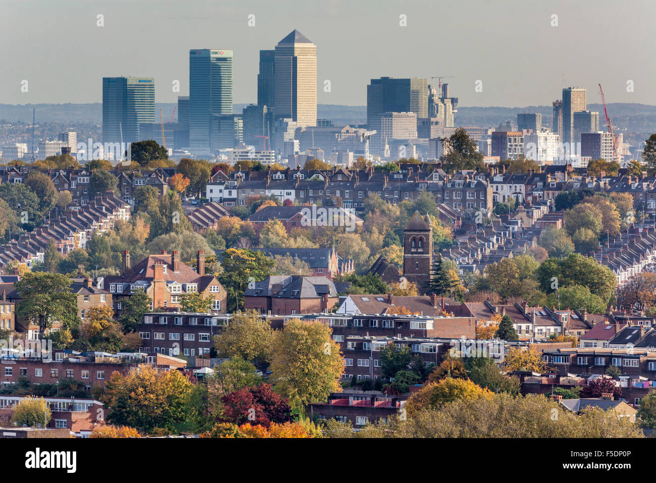 London  Docklands skyline seen over the North London districts of Hornsey and Crouch End, London N8 - Stock Image
