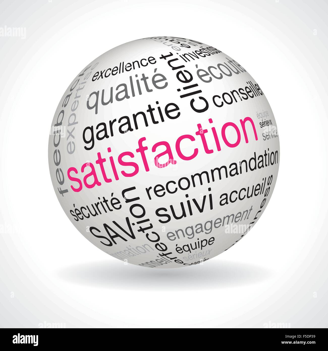 French satisfaction theme sphere with keywords full vector - Stock Vector