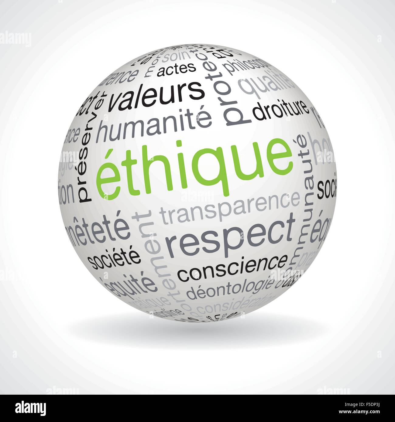 French ethics theme sphere with keywords full vector - Stock Image