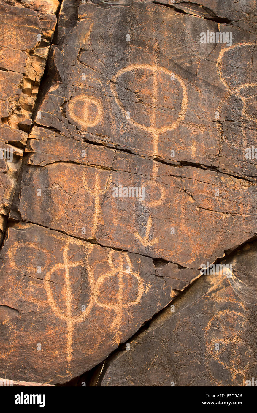 Ancient aboriginal rock art carvings symbols of