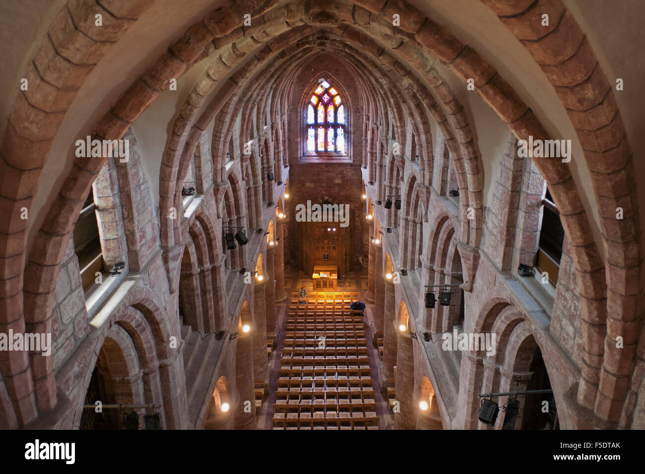 The Nave looking west, St Magnus Cathedral, Kirkwall, Orkney - Stock Image