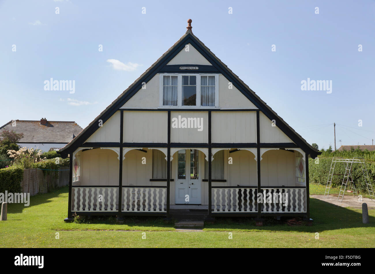House made from Railway Carriages, Sutton on Sea, Lincolnshire - Stock Image