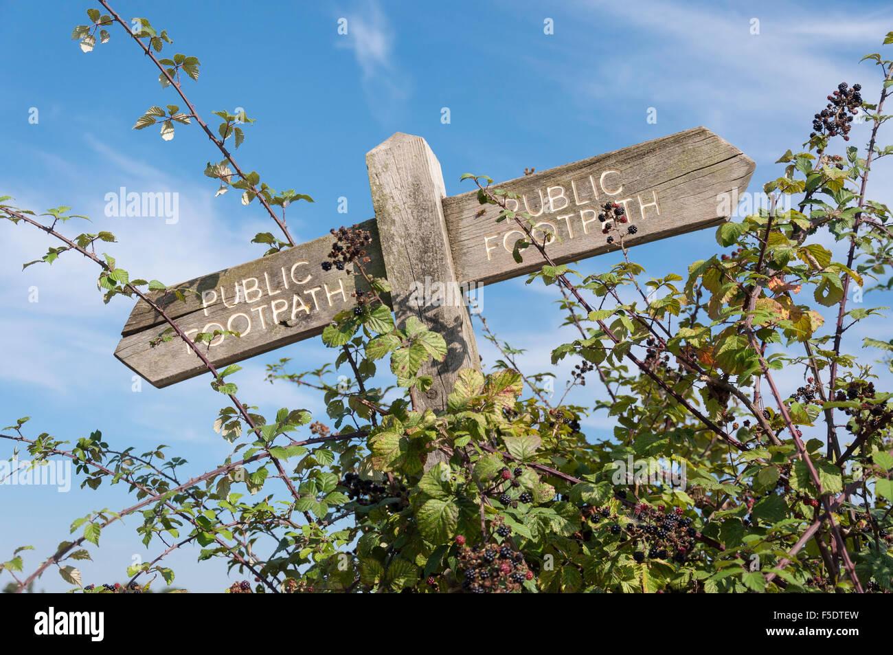 Public footpath trail sign, Nr Hadleigh Castle, Hadleigh, Essex, England, United Kingdom - Stock Image