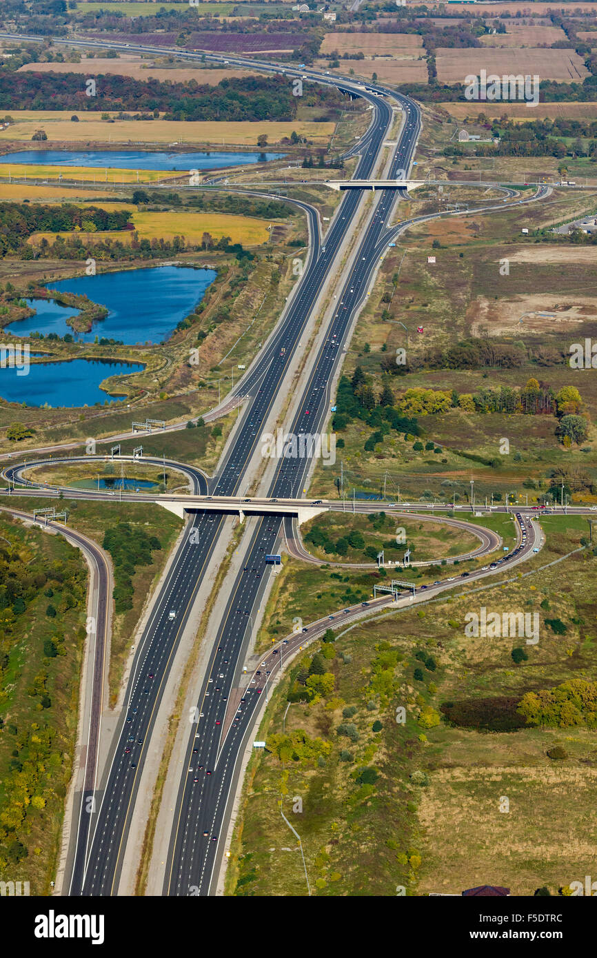 Aerial view of Highway 407 over 9th Line looking east. - Stock Image