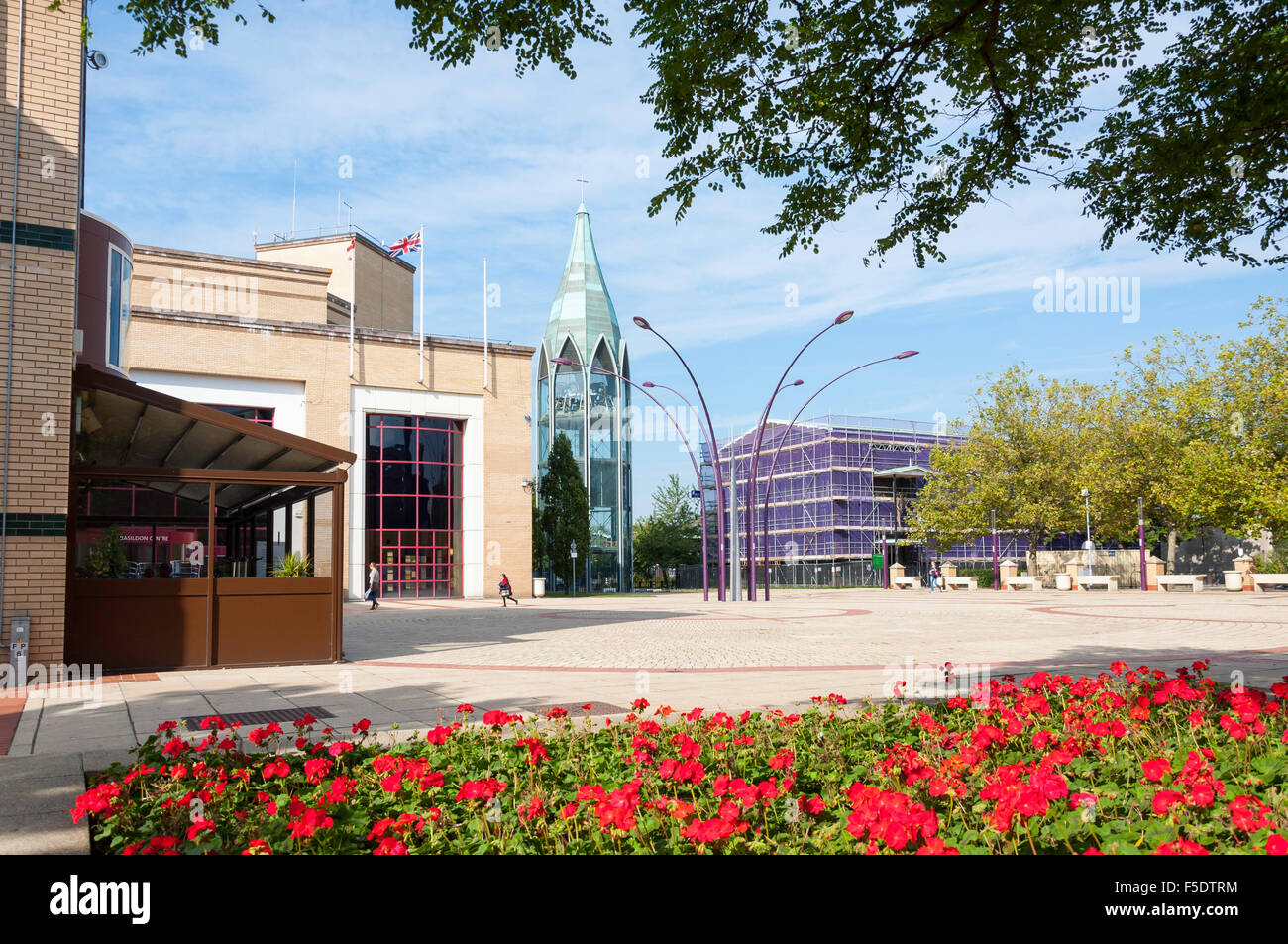 St.Martin's Square showing Bell Tower, Basildon, Essex, England, United Kingdom - Stock Image
