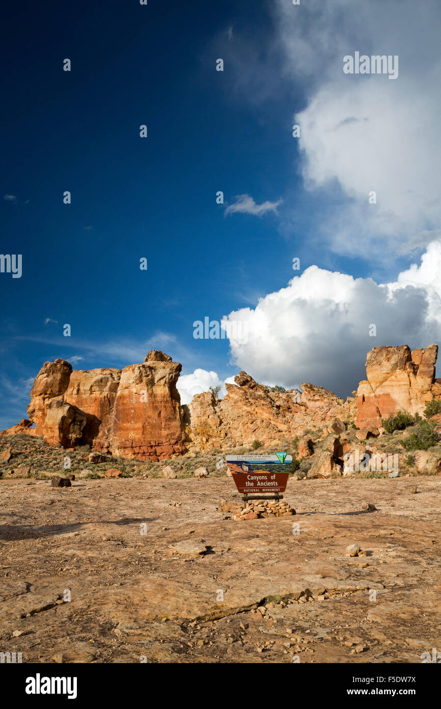 Cortez, Colorado - Canyons of the Ancients National Monument. The area contains over 6,000 archaeological sites. - Stock Image