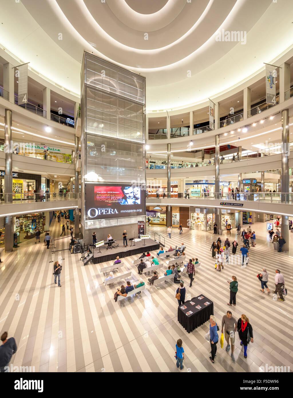 Minnesota Opera presentation inside Minneapolis Mall of America. Largest shopping mall in the US. Interior. - Stock Image