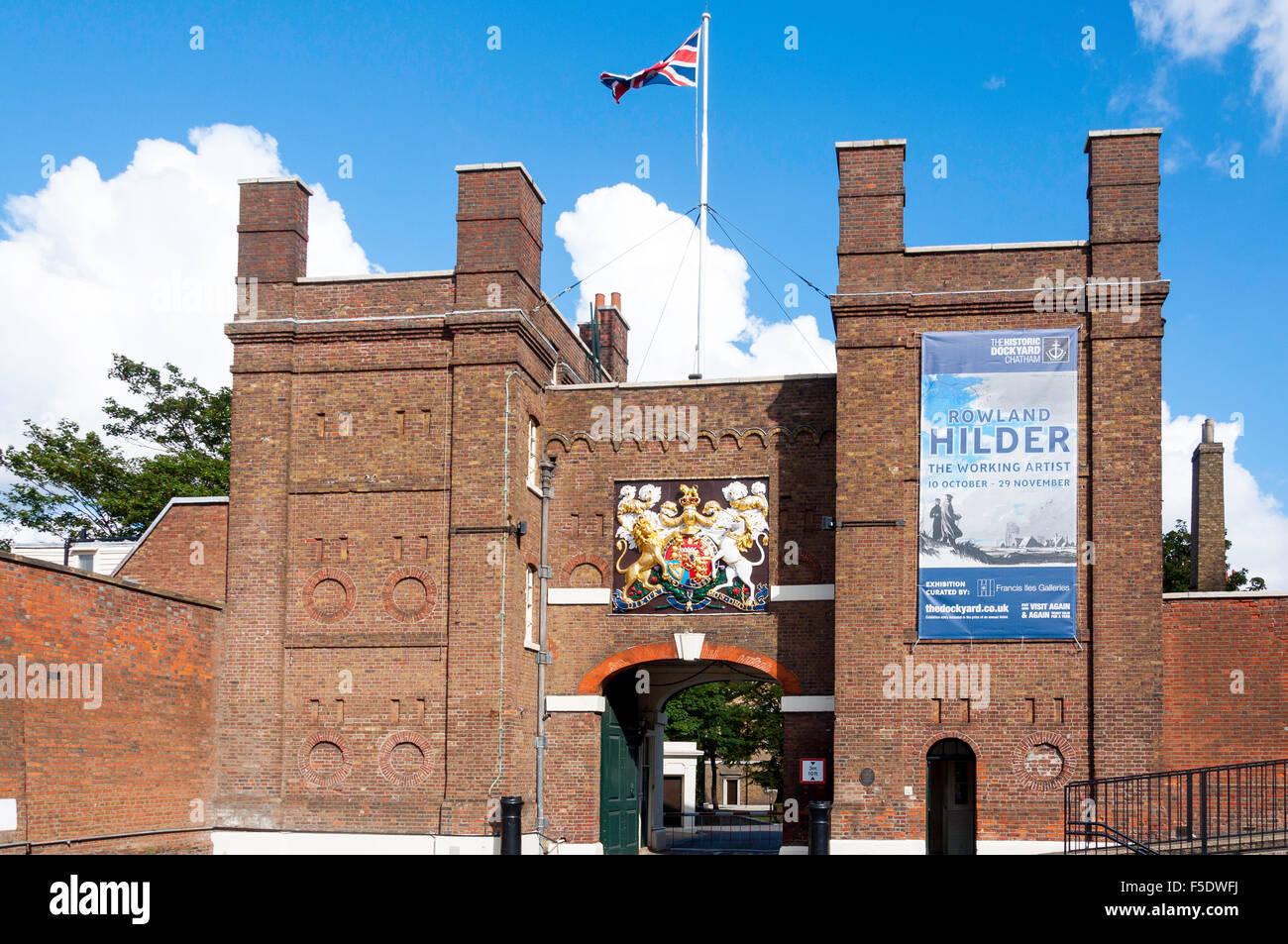 Entrance gate to Chatham Historic Dockyard, Chatham, Kent, England, United Kingdom - Stock Image