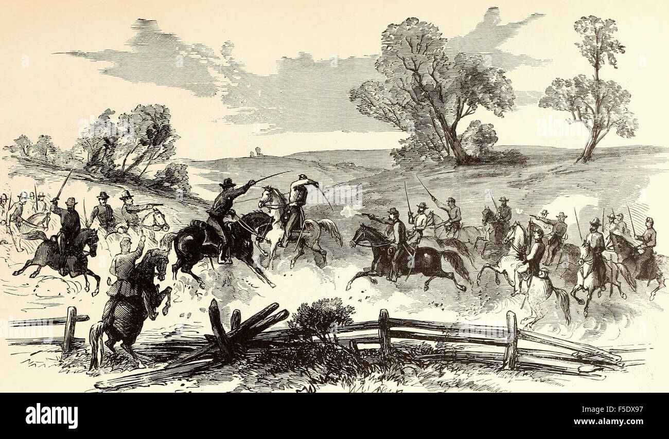 Desperate skirmish at Old Church, near Turnstall's Station, Virginia, between a squadron of the fifth United - Stock Image