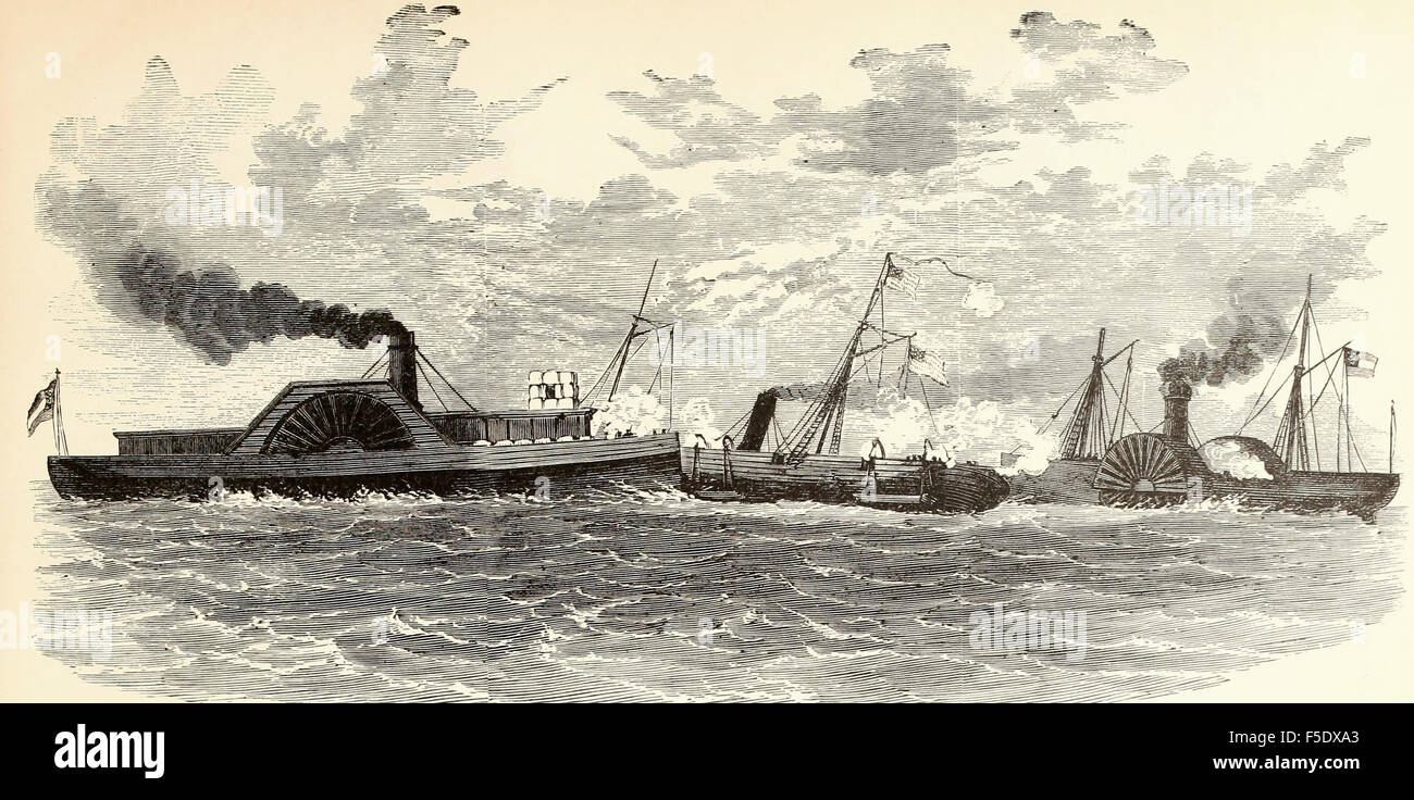 Desperate Engagement, April 24th 1862 between the United States Gunboat Varuna, Commander Boggs, and the Confederate - Stock Image