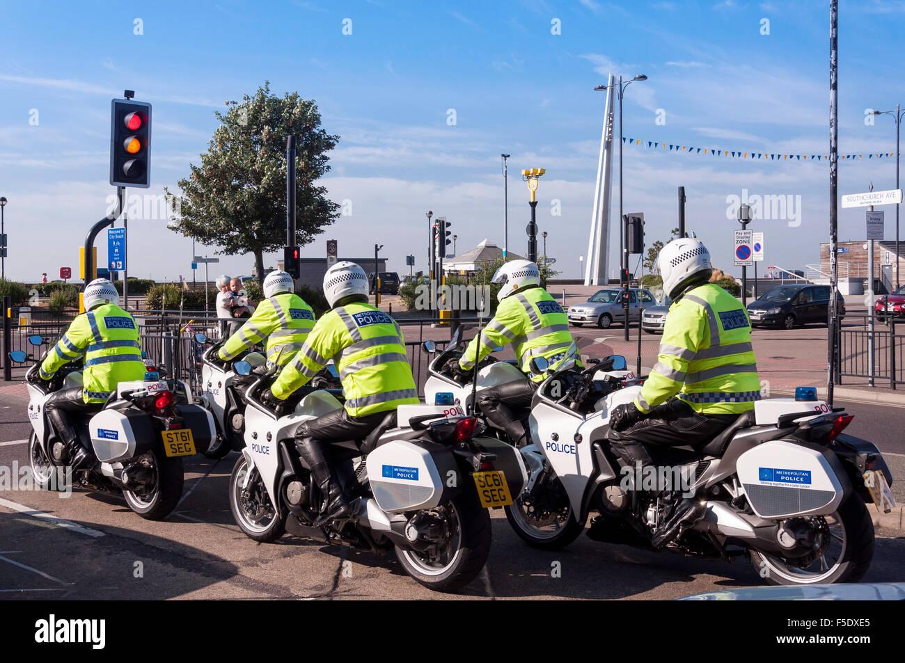 Metropolitan Police motorcycle team, Southchurch Avenue, Southend-on Sea, Essex, England, United Kingdom Stock Photo