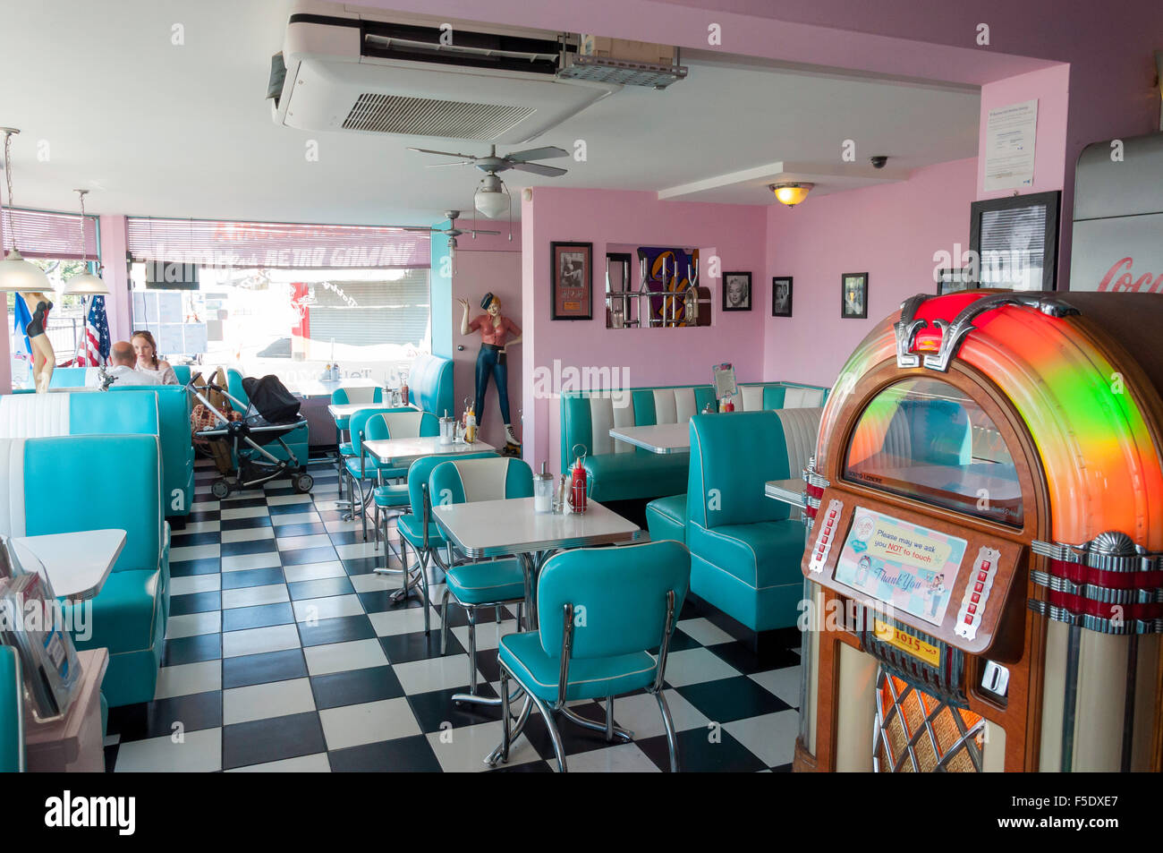 Interior of Bobby Jo's 50's Diner, Eastern Esplanade, Southend-on-Sea, Essex, England, United Kingdom - Stock Image