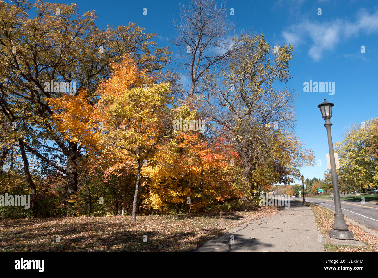 autumn trail along mississippi river st paul minnesota mn usa stock