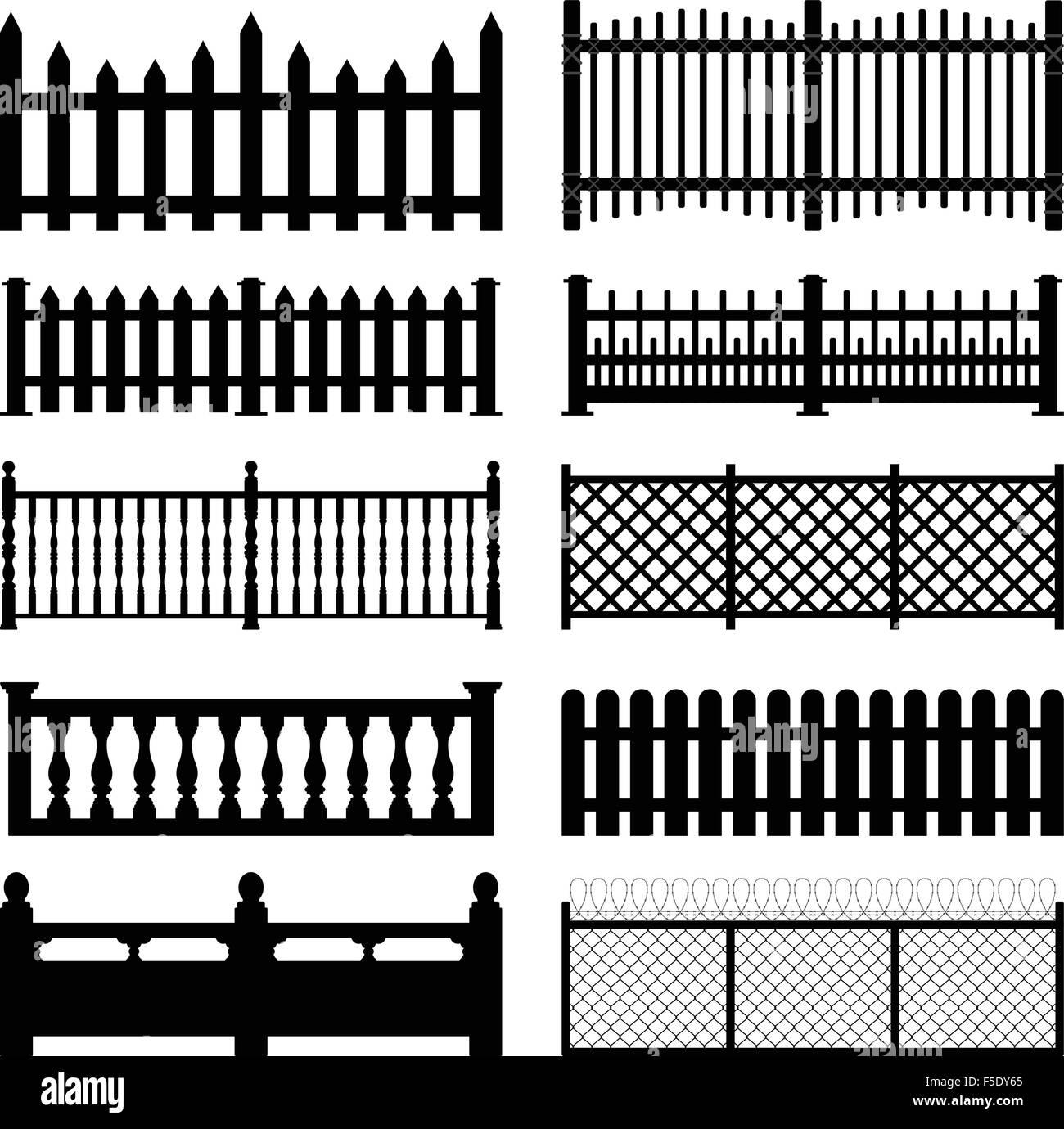 Fence Picket Wooden Wired Brick Garden Park Yard - Stock Vector