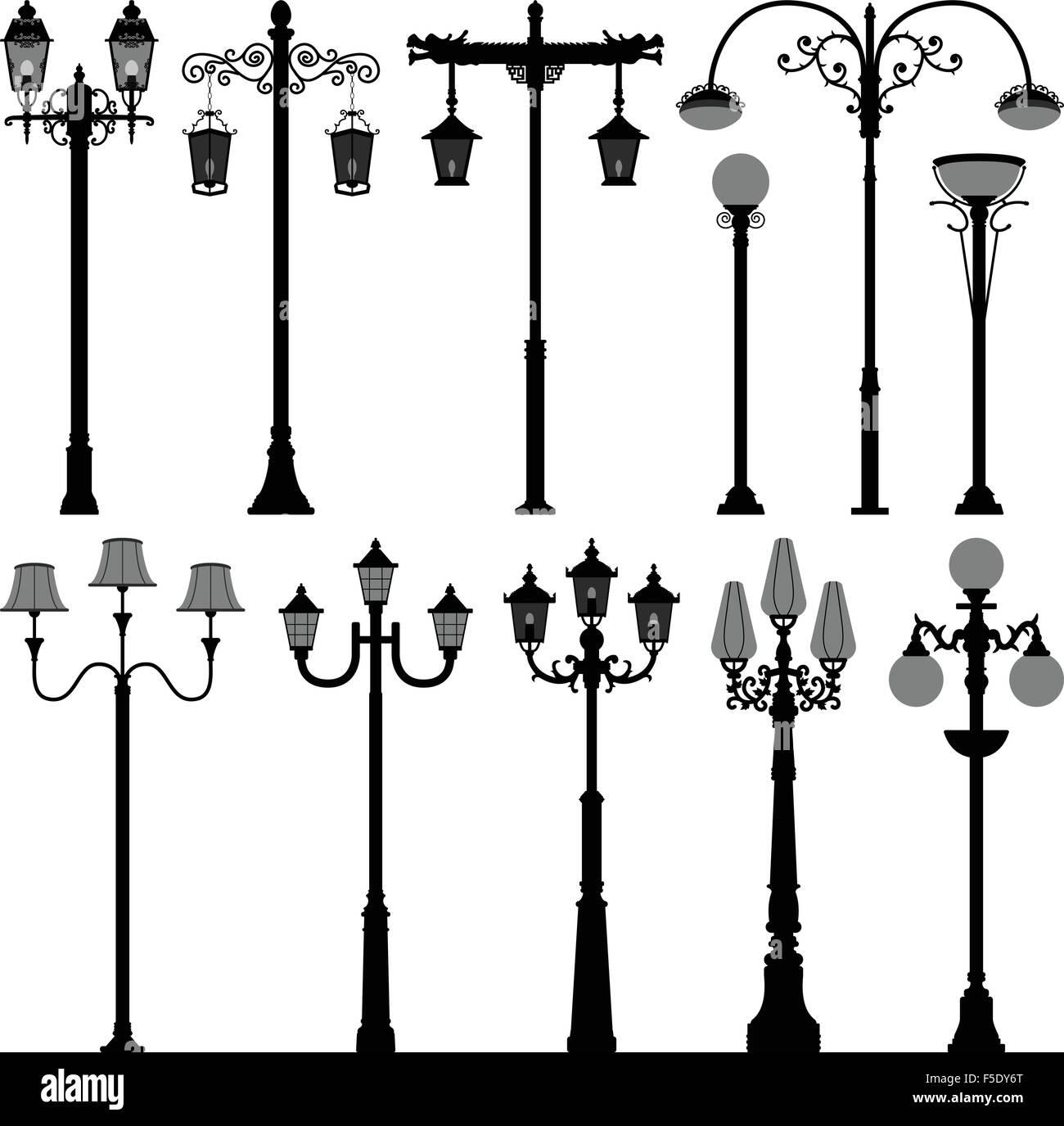 Lamp Post Lamppost Street Pole Light Stock Vector Art Illustration