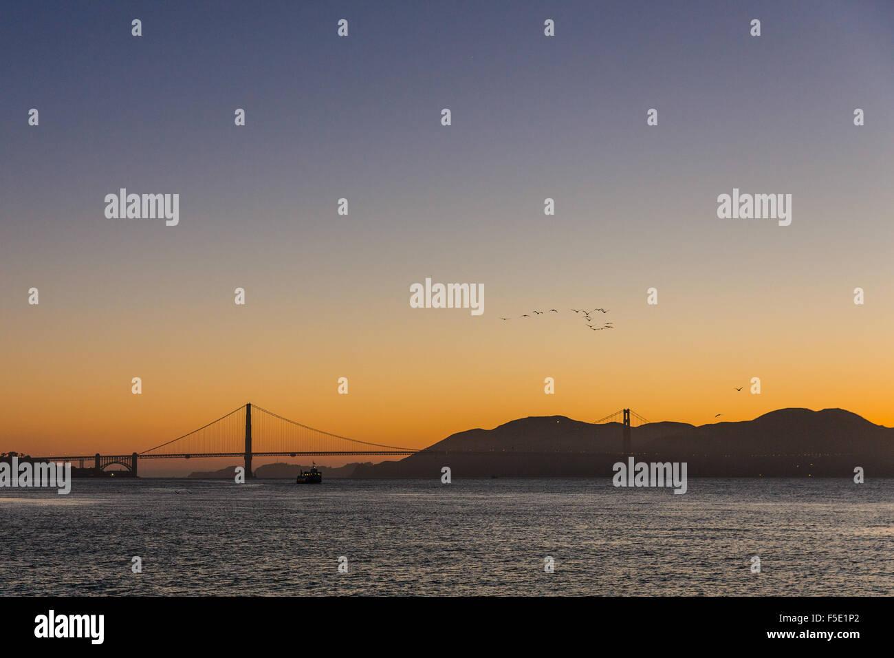 Sunset at Golden Gate Bridge - Stock Image