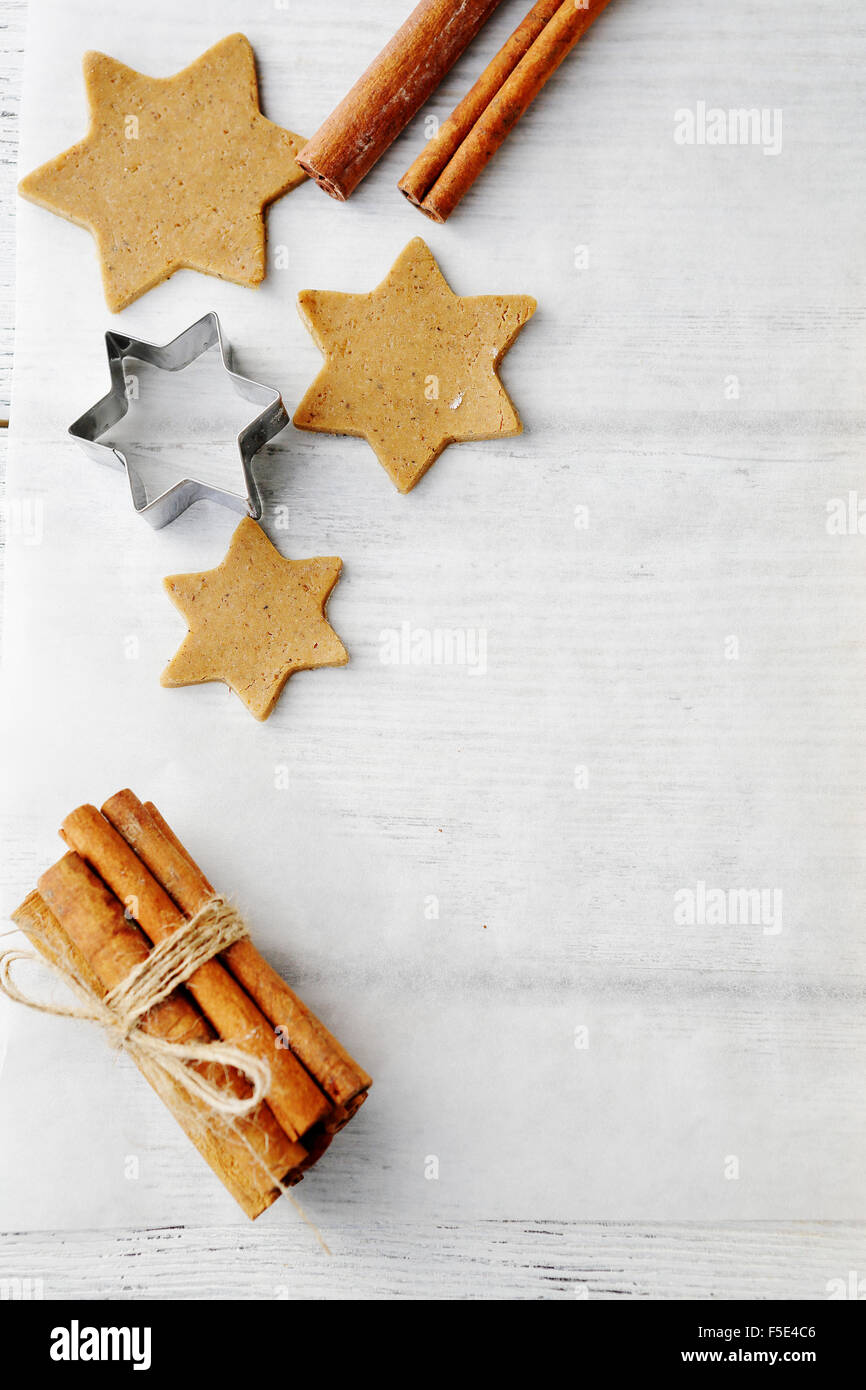 raw star christmas cookies top view - Stock Image