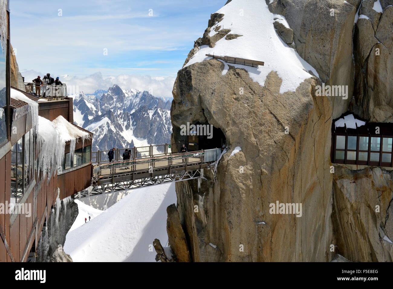 Viewing platforms and walkways, Aiguille du Midi, Mont Blanc Massif, Chamonix, Haute Savoie, French Alps, France, - Stock Image