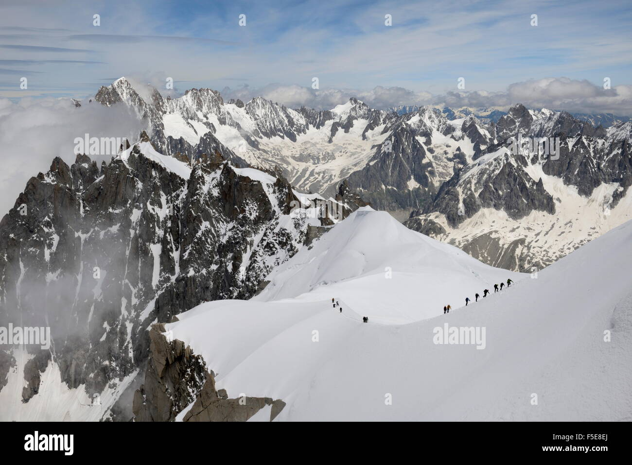 Mountaineers and climbers, Mont Blanc Massif, Aiguille du Midi, Chamonix, Haute Savoie, French Alps, France, Europe Stock Photo