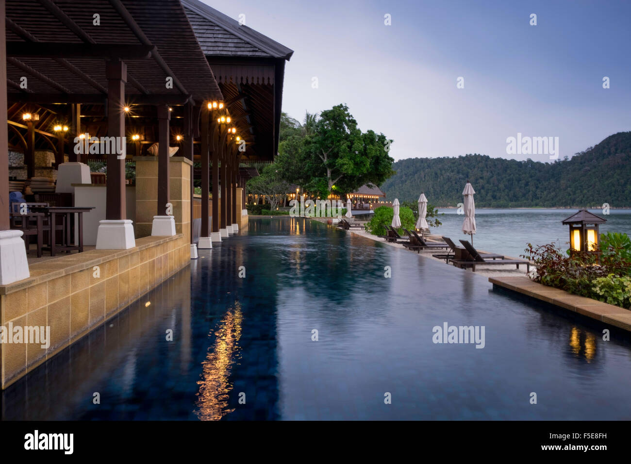 Swimming pool at the luxury resort and spa of Pangkor Laut, Malaysia, Southeast Asia, Asia Stock Photo