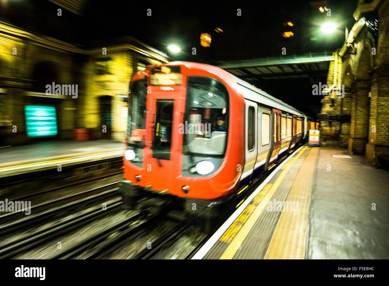London Tube train in motion, London, England, United Kingdom, Europe - Stock Image