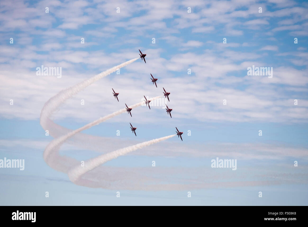 Red Arrows display team at Bournemouth Air Festival commemorating the Battle of Britain, Bournemouth, Dorset, England, - Stock Image