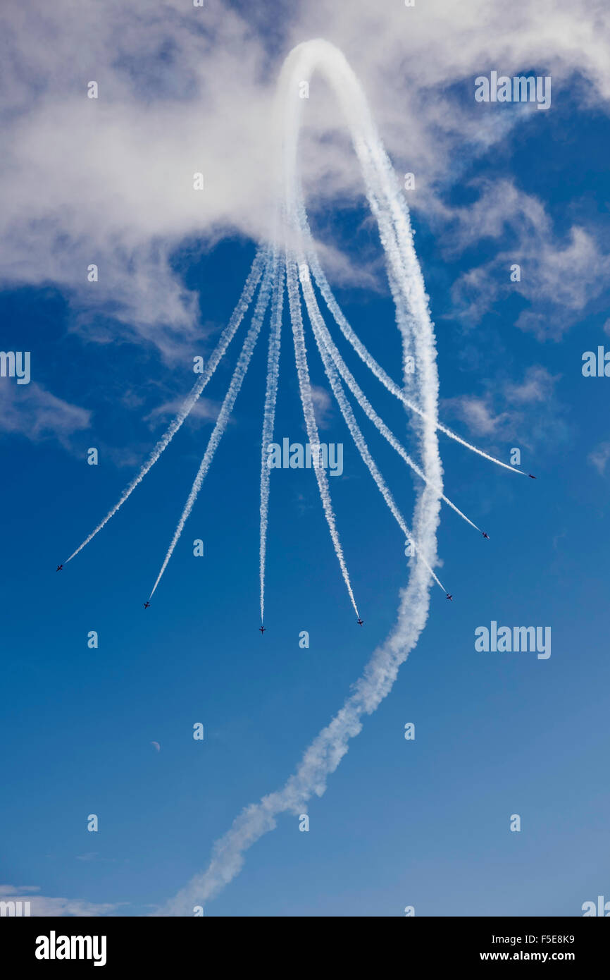 The Red Arrows display team at Bournemouth Air Festival, Dorset, England, United Kingdom, Europe - Stock Image
