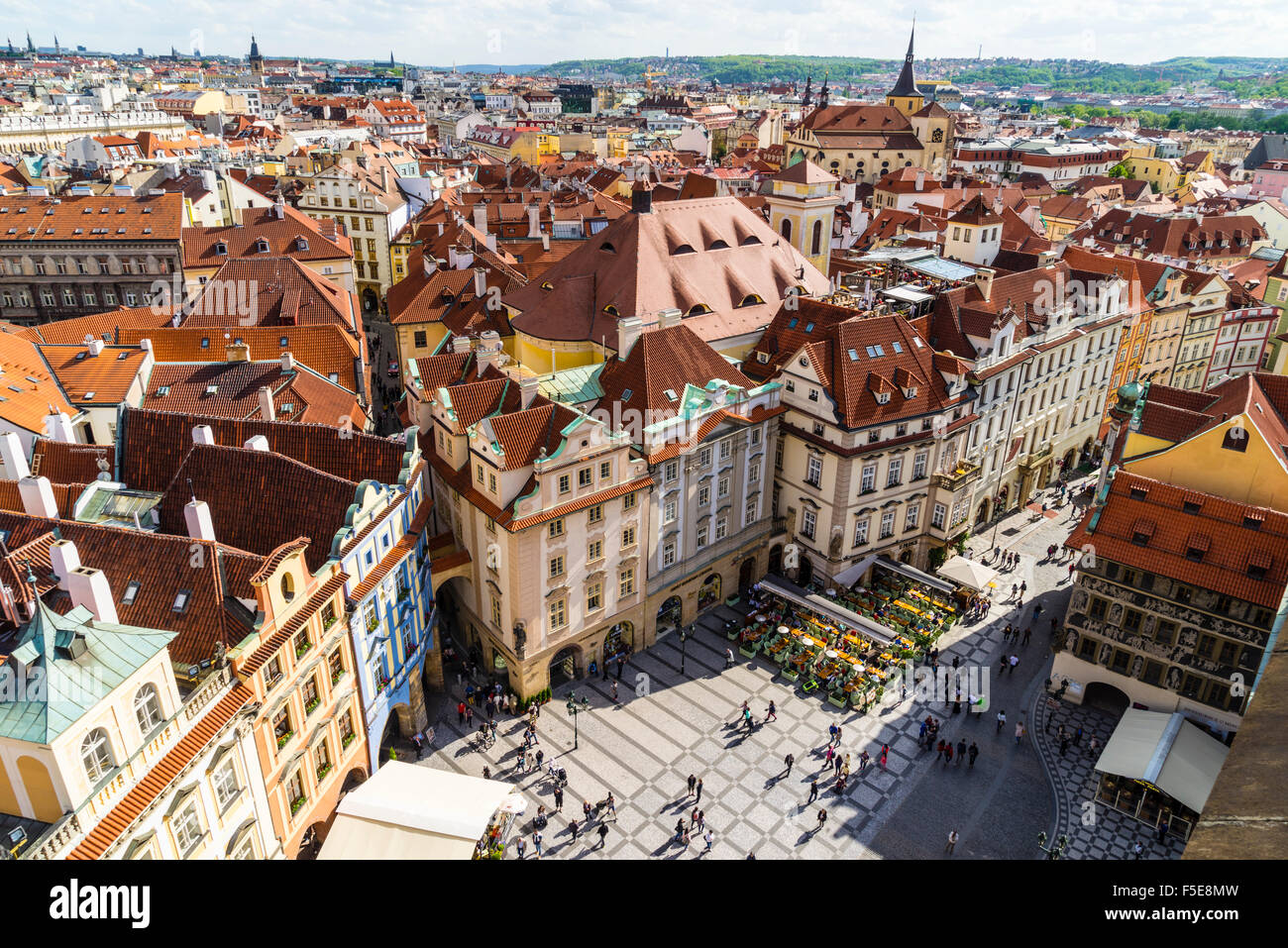 High angle view of buildings in Old Town Square, UNESCO World Heritage Site, Prague, Czech Republic, Europe - Stock Image