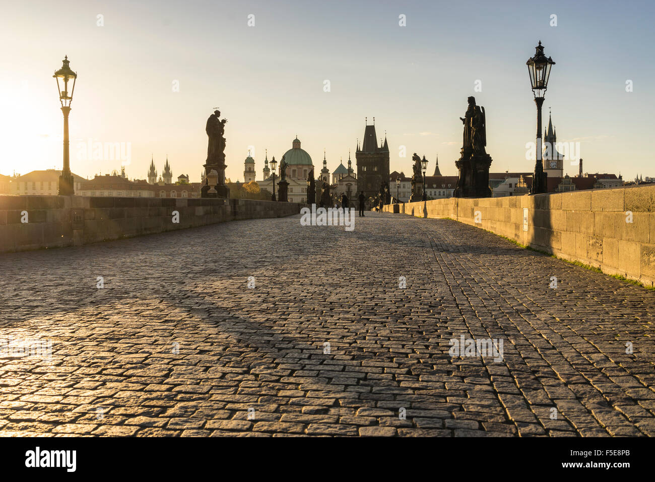 Sunrise on Charles Bridge, UNESCO World Heritage Site, Prague, Czech Republic, Europe - Stock Image
