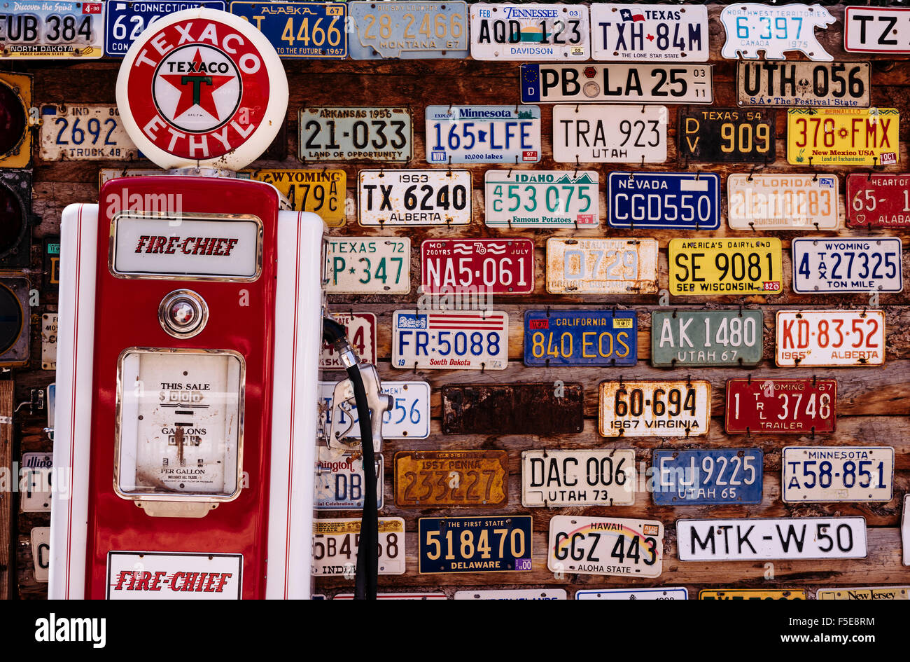 Vintage number plates, Hole In The Rock, Utah, United States of America, North America - Stock Image
