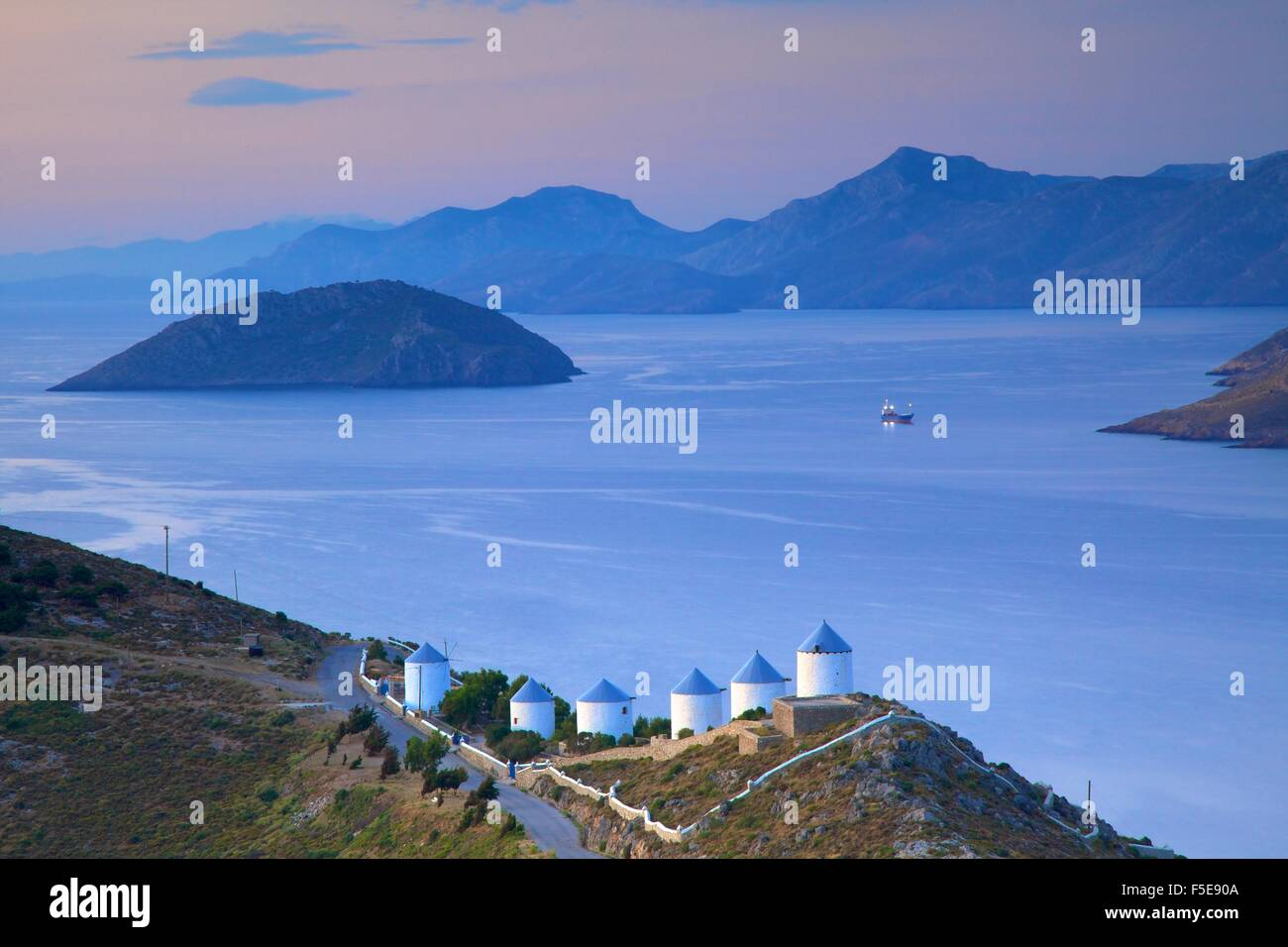 Windmills, Leros, Dodecanese, Greek Islands, Greece, Europe - Stock Image