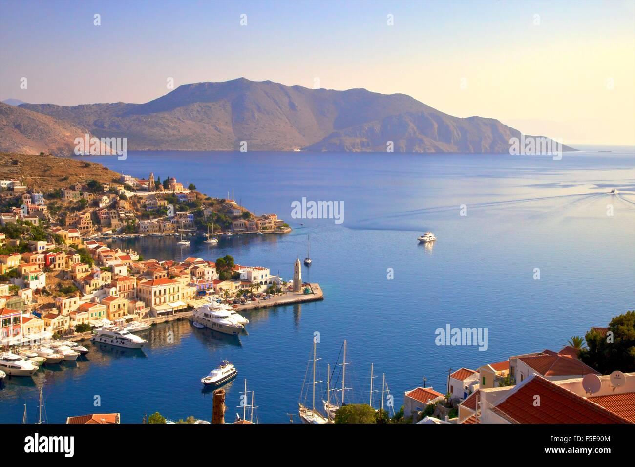 Symi Harbour, Symi, Dodecanese, Greek Islands, Greece, Europe - Stock Image