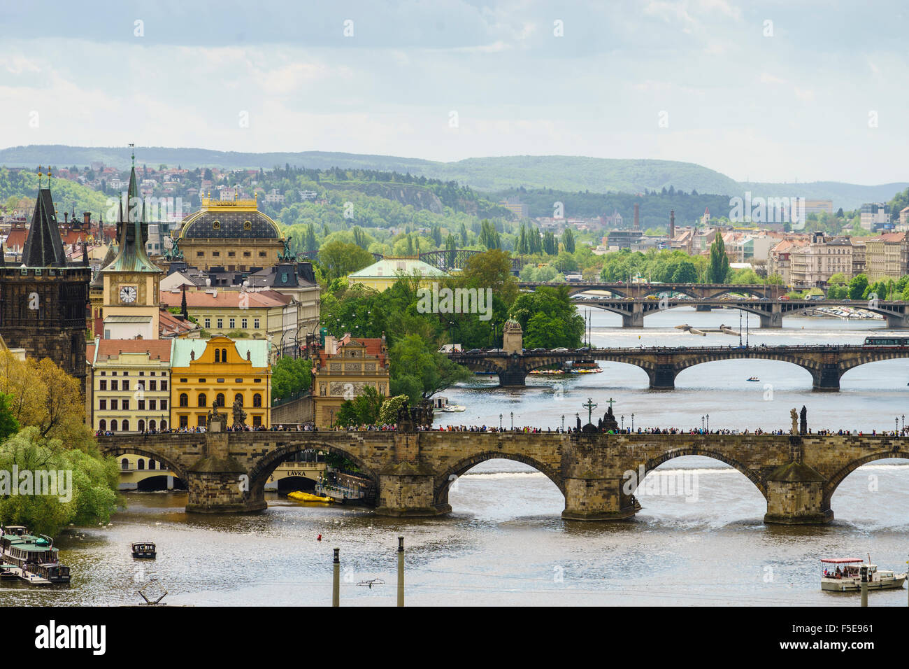 Prague cityscape its bridges connecting the Old Town to Mala Strana, Prague Castle and Hradcany, Prague, Czech Republic - Stock Image
