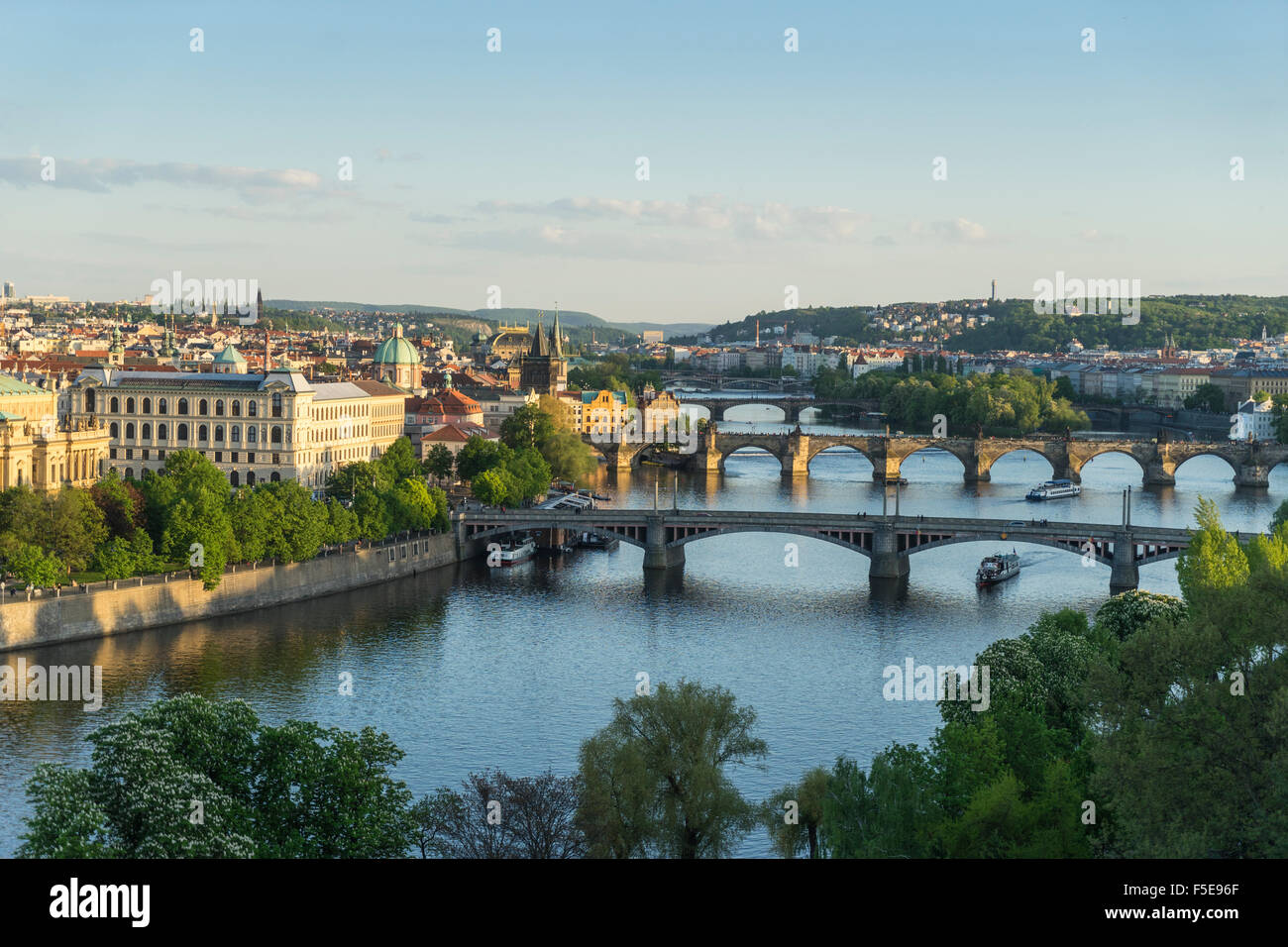 Cityscape Vltava River at the bridges connecting the Old Town to Mala Strana, Prague Castle and Hradcany, Prague, - Stock Image