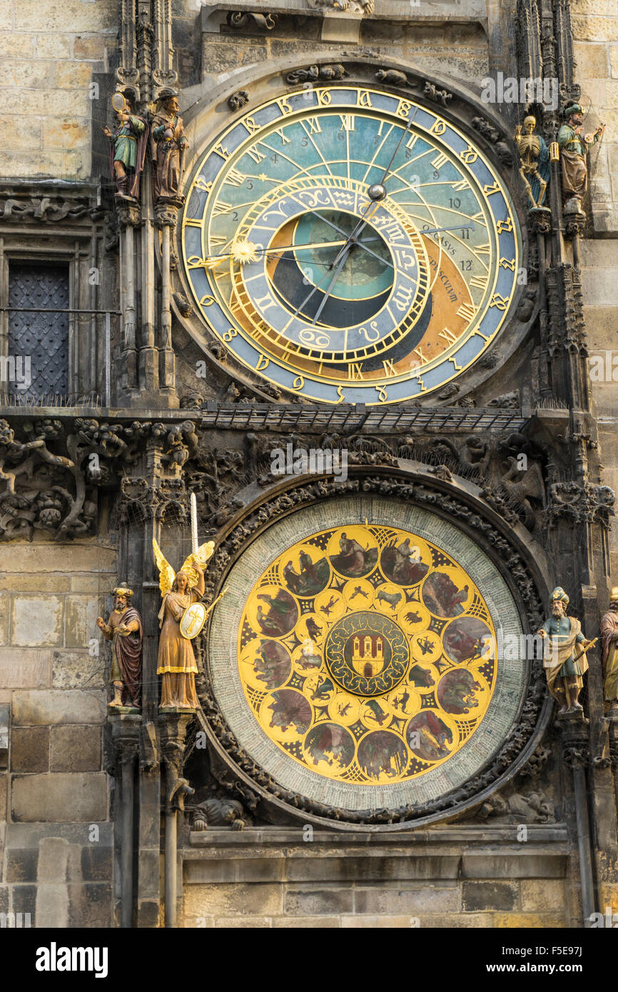 The Astronomical Clock, Old Town Hall, UNESCO World Heritage Site, Prague, Czech Republic, Europe - Stock Image