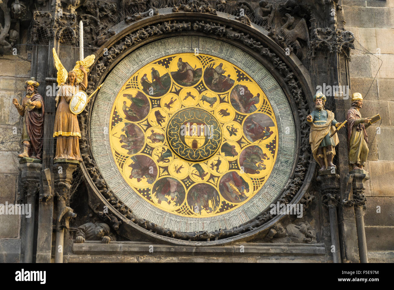 Detail of the Astronomical Clock, Old Town Hall, UNESCO World Heritage Site, Prague, Czech Republic, Europe - Stock Image