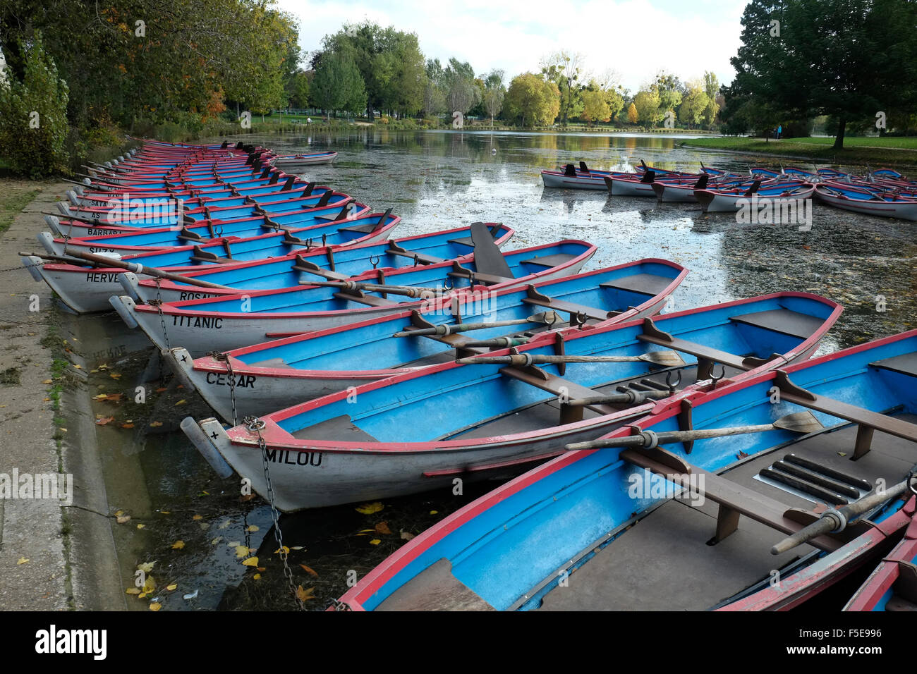 Row boats in Bois de Vincennes, Paris, France, Europe - Stock Image